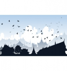 Eastern bird city vector image