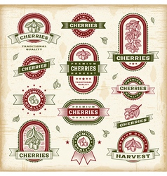 Vintage cherry labels set vector image