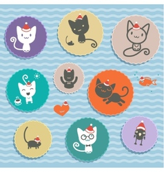 Set of animal icons cats in cap vector