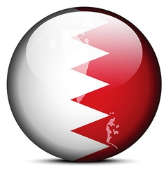 Map on flag button of kingdom of bahrain vector