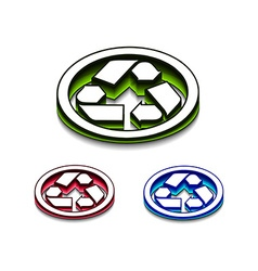 3d glossy recycle icon vector