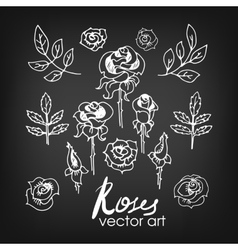 Set of vintage floral hand-sketched elements vector
