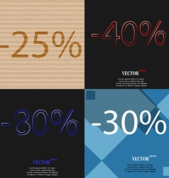 40 80 30 icon set of percent discount on abstract vector