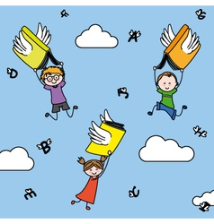 Letters and books with wings carry children vector