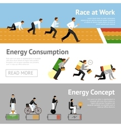 Businessman energy banner set vector