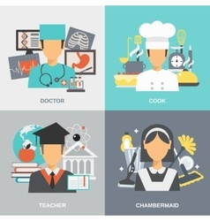 Profession Flat Set vector image
