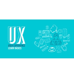 Ux user experience background concept with doodle vector