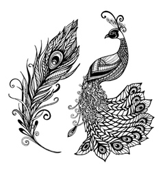Peacock feather design black doodle print vector