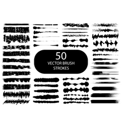 Set of 50 artistic brush strokes vector