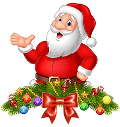 Cartoon funny santa claus waving hand vector