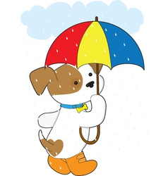 Cute puppy in rain vector