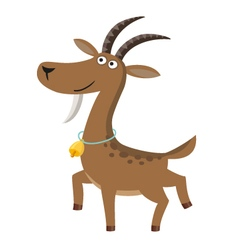 Isolated goat with gold bell on white background vector