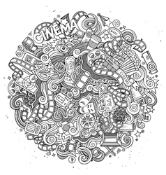 Cartoon doodles cinema frame design vector