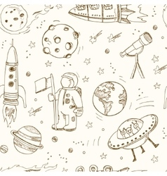 Cartoon hand drawn doodles on the subject of space vector image