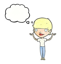 Cartoon woman holding arms in air with thought vector