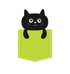 Cat in the pocket cute cartoon character black vector