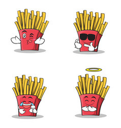 Collection of french fries cartoon character set vector