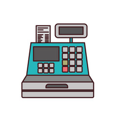 Color silhouette with cash register with thin vector