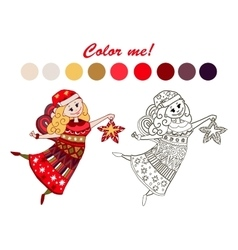 coloring book fairy vector image vector image