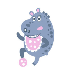 Cute cartoon hippo character playing with a ball vector