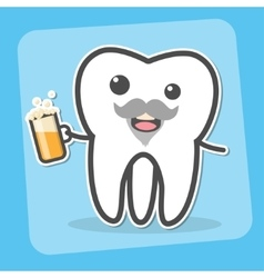Drunk wisdom tooth with beer vector