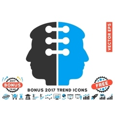 Dual head interface flat icon with 2017 bonus vector