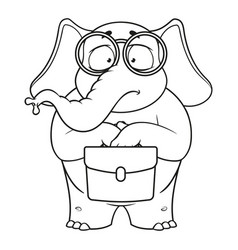 Elephant nerd with glasses holding a briefcase vector