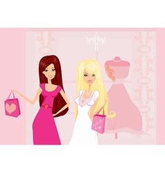 Fashion girls shopping vector