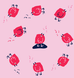 Funny seamless pattern with singing birds vector