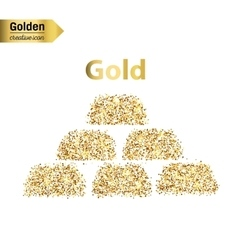 Gold glitter icon of gold bullions isolated vector