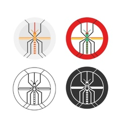 Graphic set of dengue mosquito vector image vector image