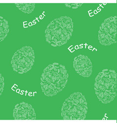 green seamless pattern with easter eggs vector image vector image