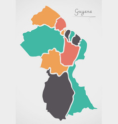 Guyana map with states and modern round shapes vector