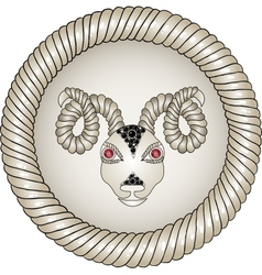 Head of the ram zodiac signs aries eyes - red vector