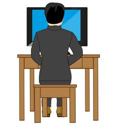Man looks television set vector