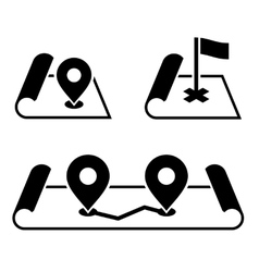 Navigation Pin on Map Icons Set vector image vector image