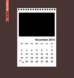 November 2014 calendar vector image vector image