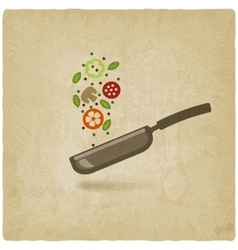 Pan with food on old background vector