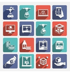 Printer 3d Icons vector image