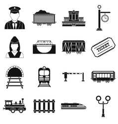 Railroad black simple icons set vector