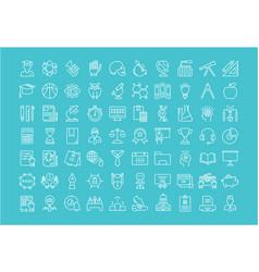 Set flat line icons university vector