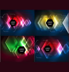 Set of techno hexagon design templates vector