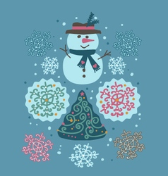 snowman and tree vector image vector image