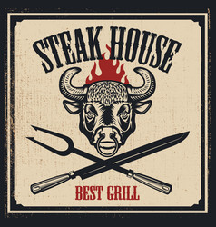 Steak house poster template bull head with fire vector