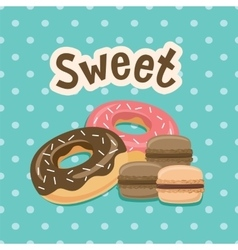 Sweet label with donut on polka-dot background vector image