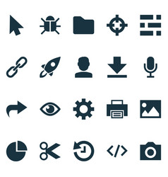User icons set with dossier printer scissors and vector