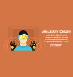 virtual reality technology banner horizontal vector image vector image