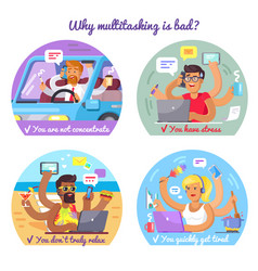 Why multitasking is bad poster with some reasons vector