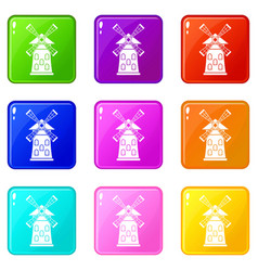 Windmill set 9 vector