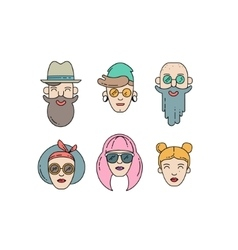 Young stylish people linear vector